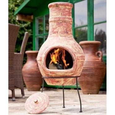 Banded Copper Clay Large Chimenea