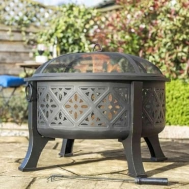 Moresque Deep Steel Firepit With Grill