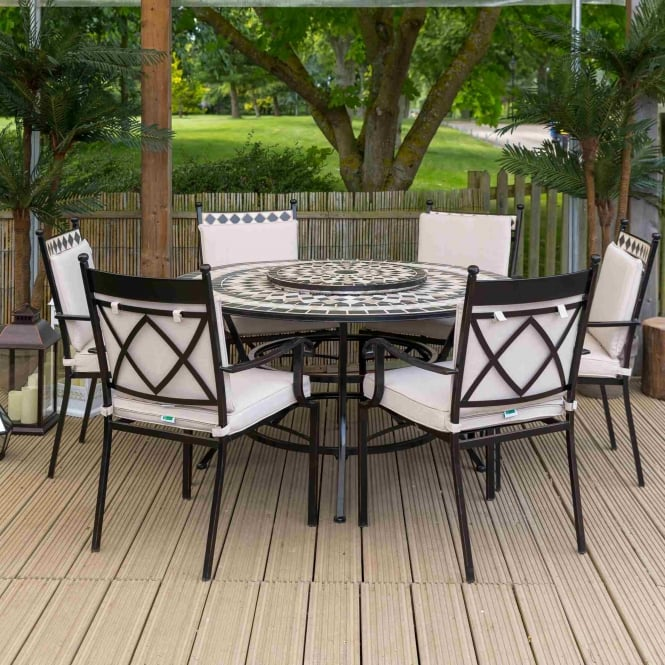 LeisureGrow Casablanca 6 Seat Round Dining Firepit Set