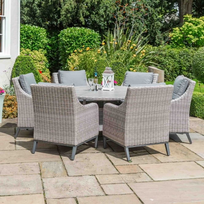 LeisureGrow Copenhagen Round 6 Seater Dining Set With Parasol