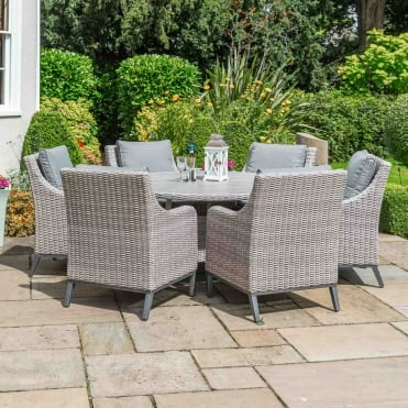 Copenhagen Round 6 Seater Dining Set With Parasol