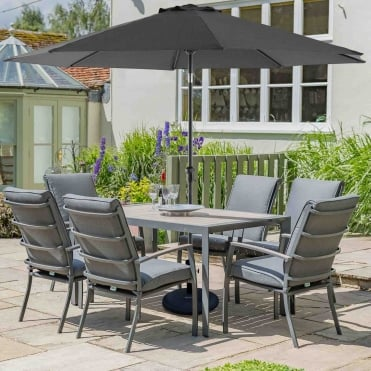 Milan Aluminium 6 Seater Dining Set