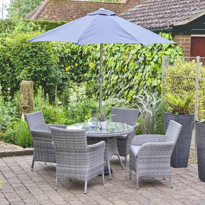 LeisureGrow Monaco 4 Seater Dining Set With Parasol
