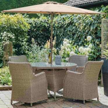 Saigon 4 Seater Dining Set With Eclipse Parasol & Base