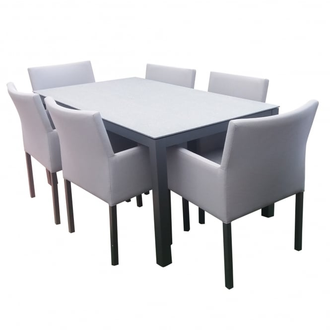 LeisureGrow Stockholm 6 Seat DuraGlass Top Dining Set