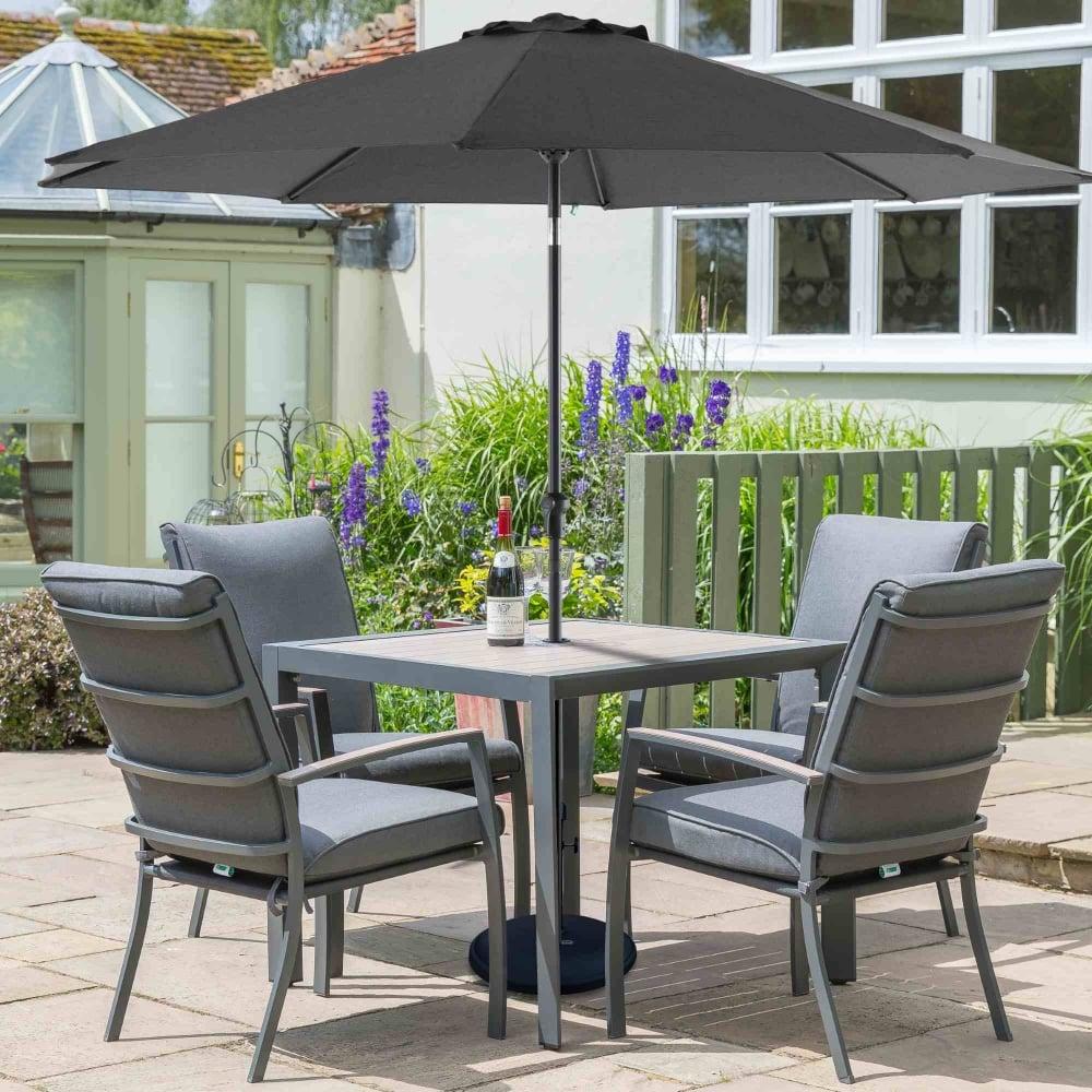 Leisuregrow Milan Aluminium 4 Seater Dining Set Garden