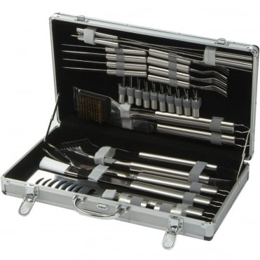 30 Piece Stainless Steel BBQ Toolkit With Case