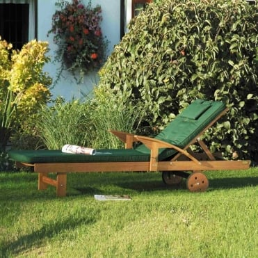 Hardwood Sun Lounger With Cushion