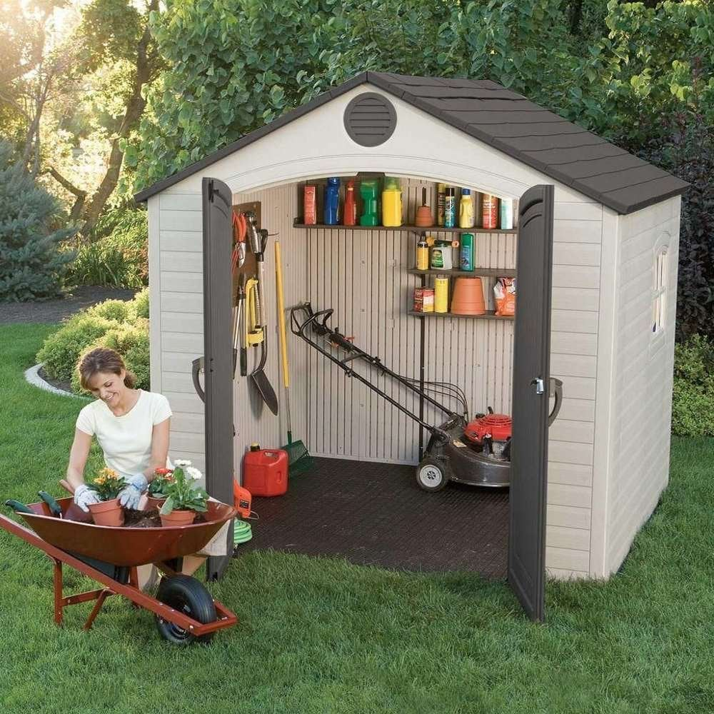 Lifetime plastic apex roof shed 8x5 garden street for Garden shed 8x5