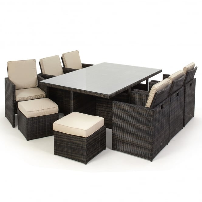 Maze Rattan 7 Piece Cube Set with Footstools
