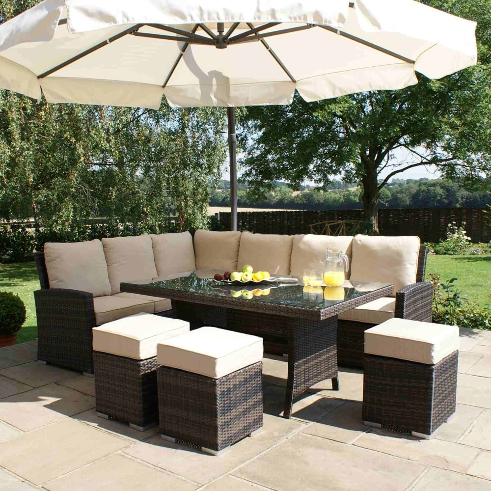 Maze Rattan Kingston Corner Sofa Dining Set | Garden Street