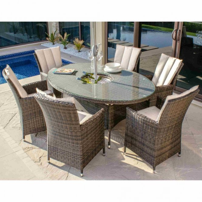 Maze Rattan LA 6 Seat Oval Ice Bucket Dining Set with Lazy Susan