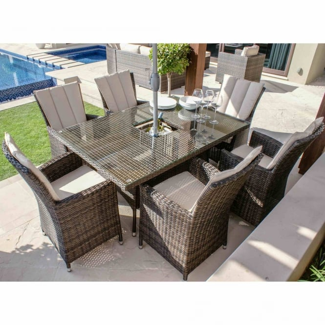 Maze Rattan LA 6 Seat Rectangular Ice Bucket Dining Set