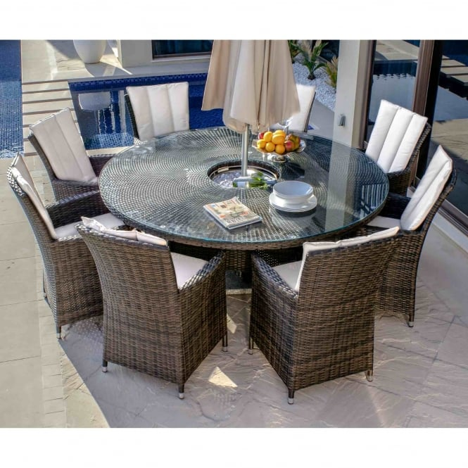 Maze Rattan LA 8 Seat Round Ice Bucket Dining Set with Lazy Susan