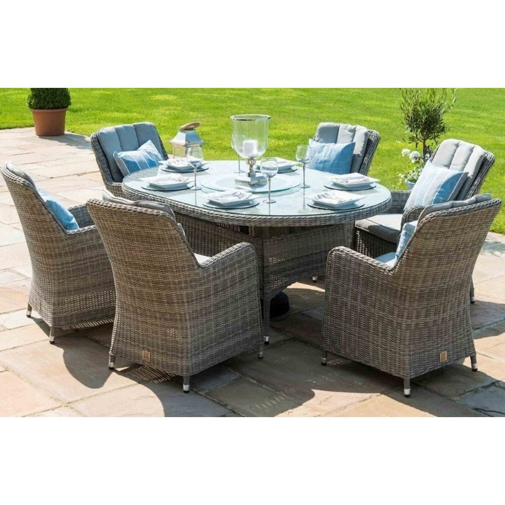 Maze Rattan Oxford 6 Seat Oval Dining Set with Fire Pit ...