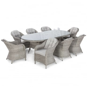 Oxford 8 Seat Oval Dining Set with Rounded Chairs