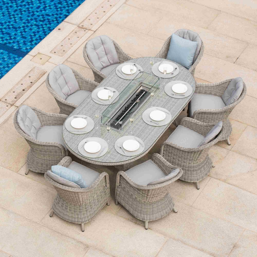 Maze Rattan Oxford 8 Seat Oval Fire Pit Dining Set With