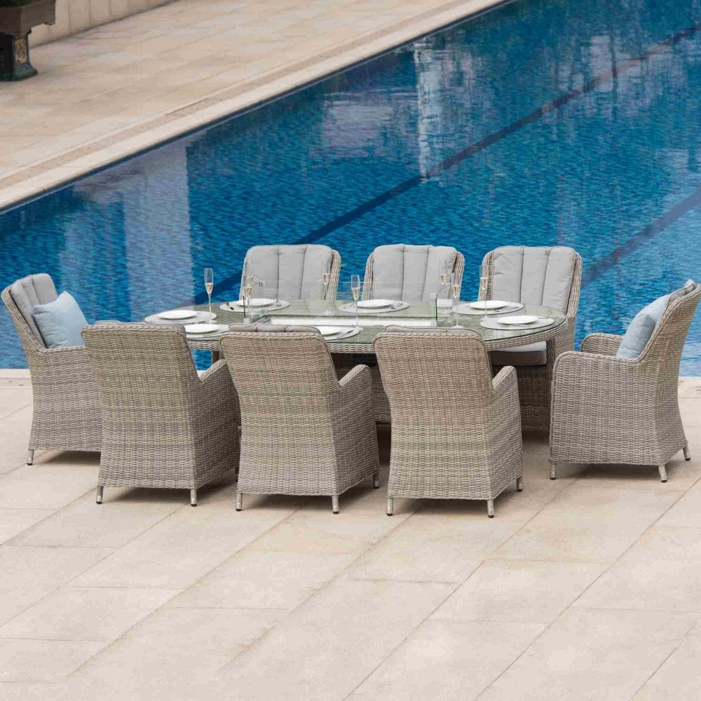 Maze Rattan Oxford 8 Seat Oval Fire Pit Dining Set with ...
