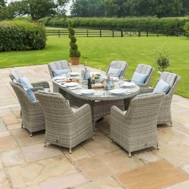 Oxford 8 Seat Oval Ice Bucket Dining Set with Venice Chairs & Lazy Susan