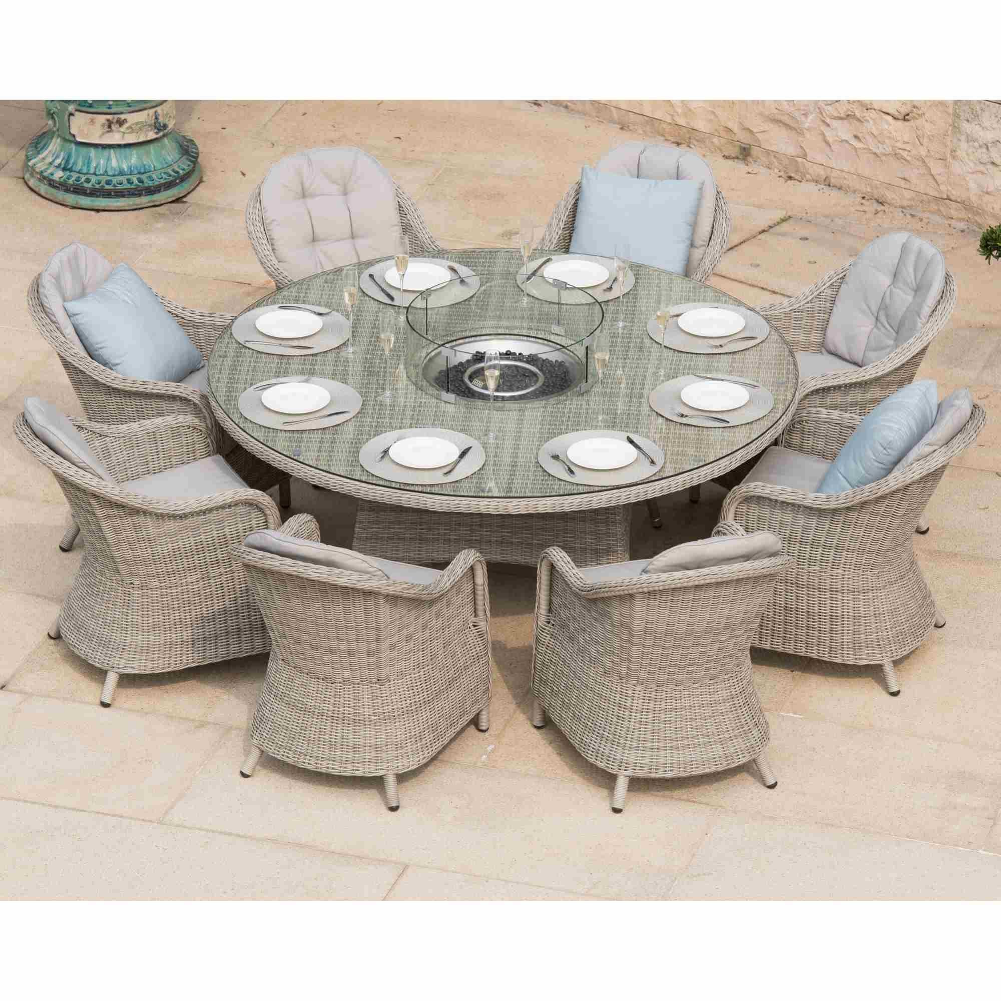 Maze Rattan Oxford 8 Seat Round Fire Pit Dining Set With Heritage Chairs Garden Street