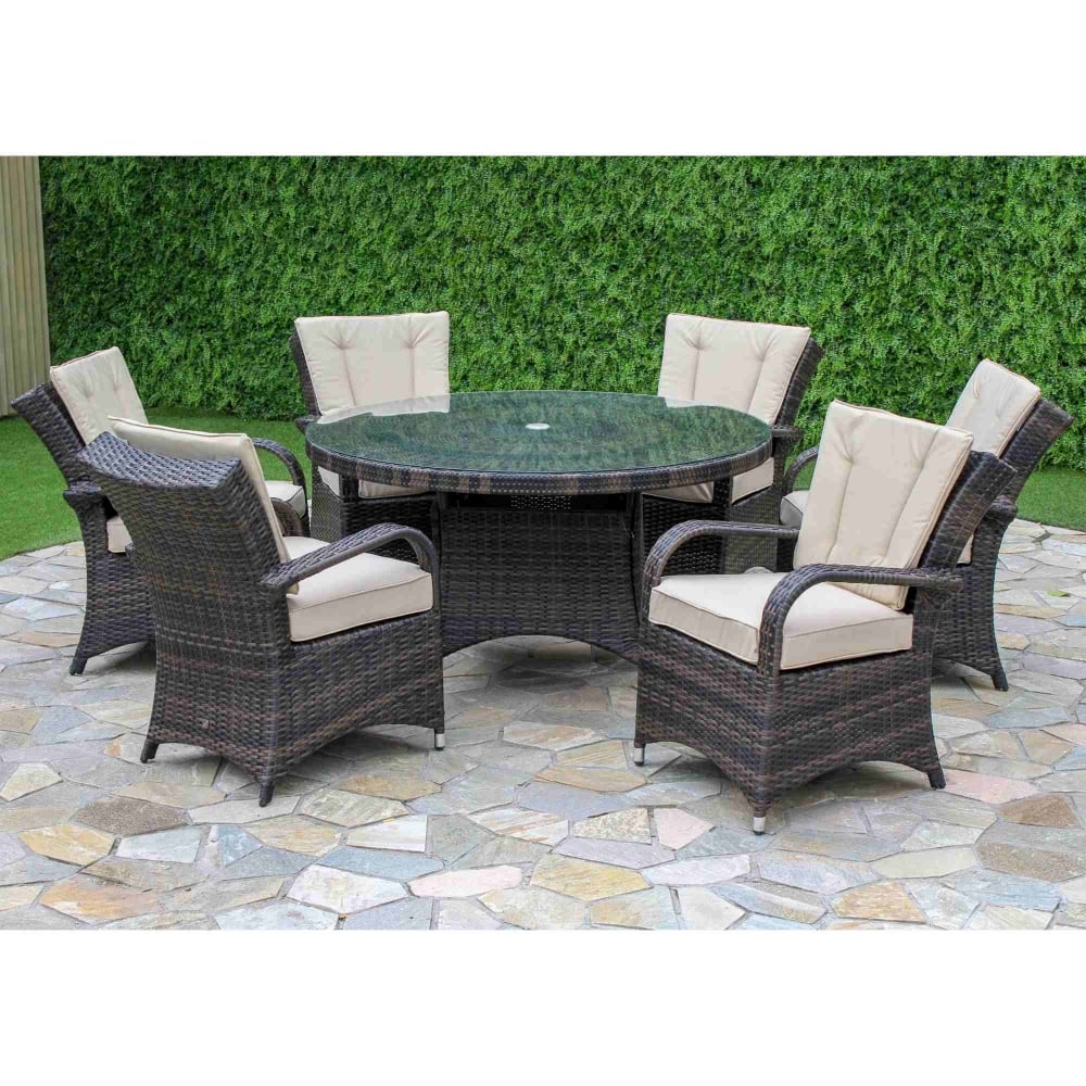b16070079756 Maze Rattan Texas 6 Seat Round Dining Set | Garden Street