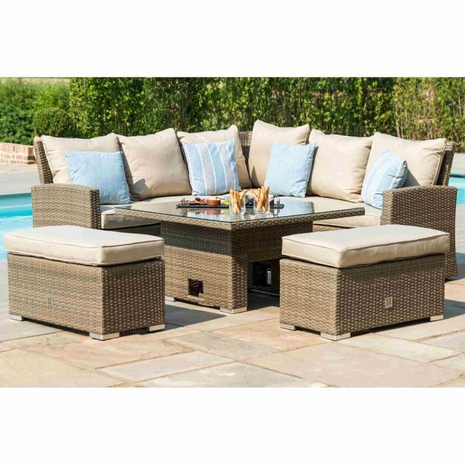 Maze Rattan Tuscany Corner Bench Set with Rising Table
