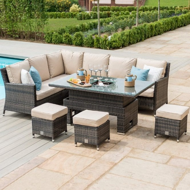 Maze Rattan Venice Corner Sofa Dining Set with Ice Bucket & Rising Table