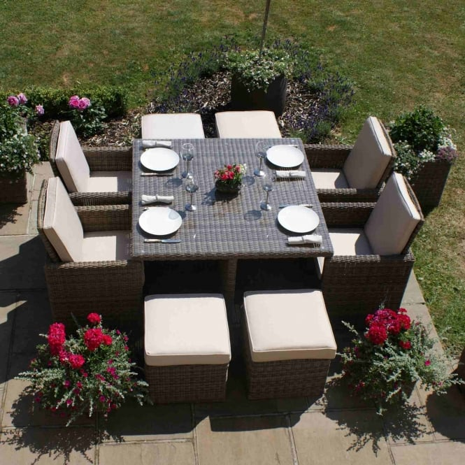 Maze Rattan Winchester 5 Piece Cube Set with Footstools