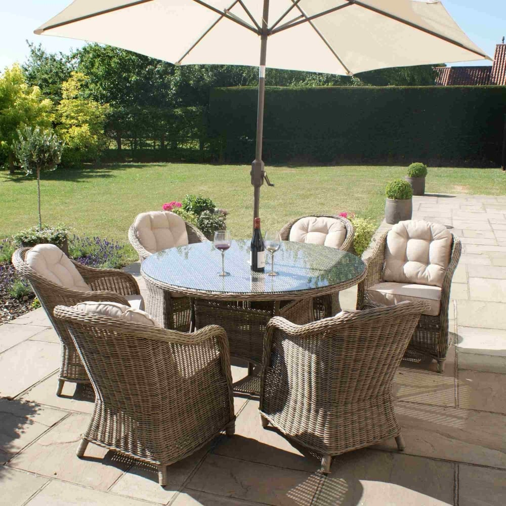 Maze Rattan Winchester 6 Seat Round Dining Set Rounded ...