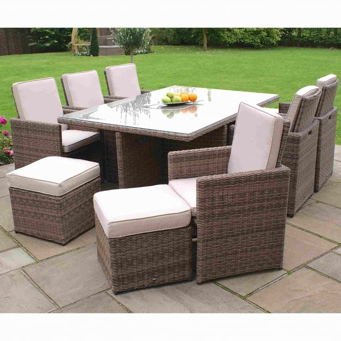 Maze Rattan Winchester 7 Piece Cube Set with Stools