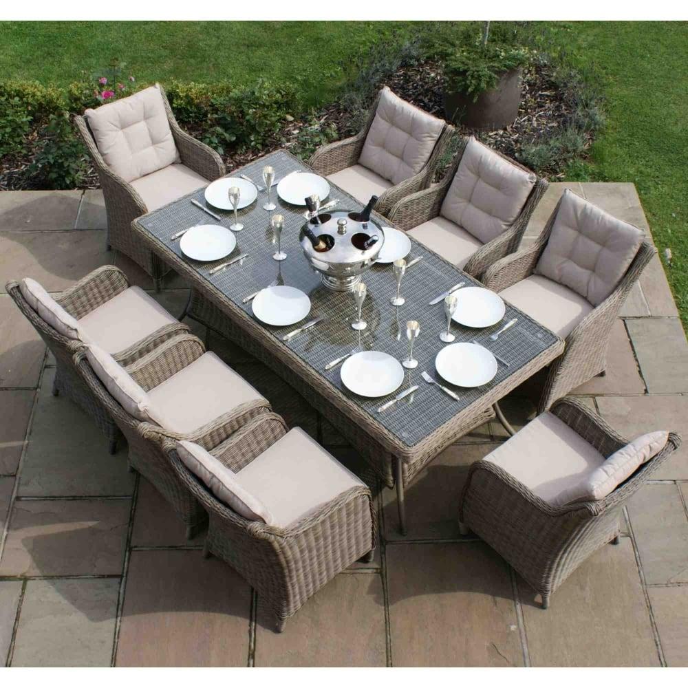 Maze Rattan Winchester 8 Seat Rectangular Dining Set