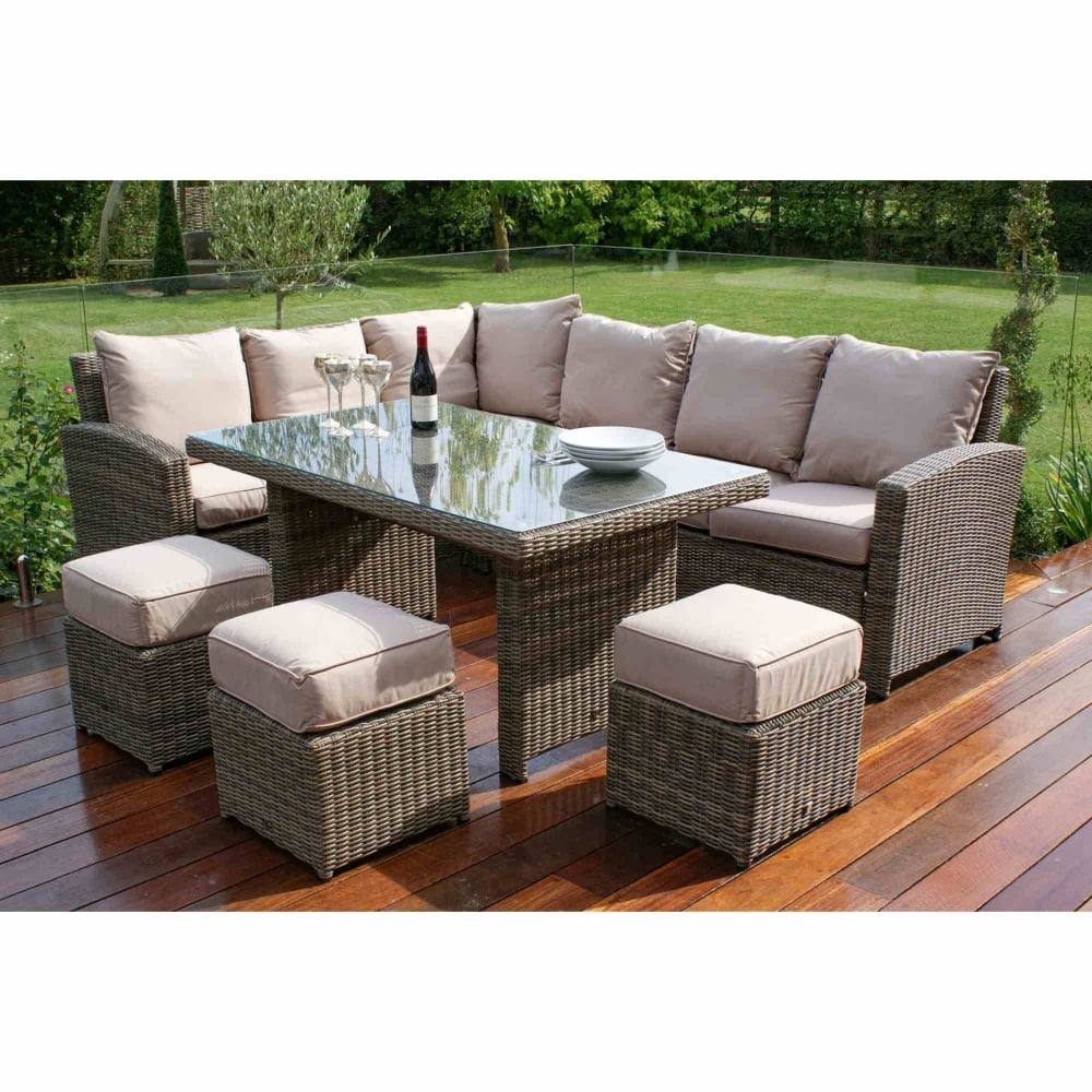 Maze Rattan Winchester Kingston Corner Sofa Dining Set