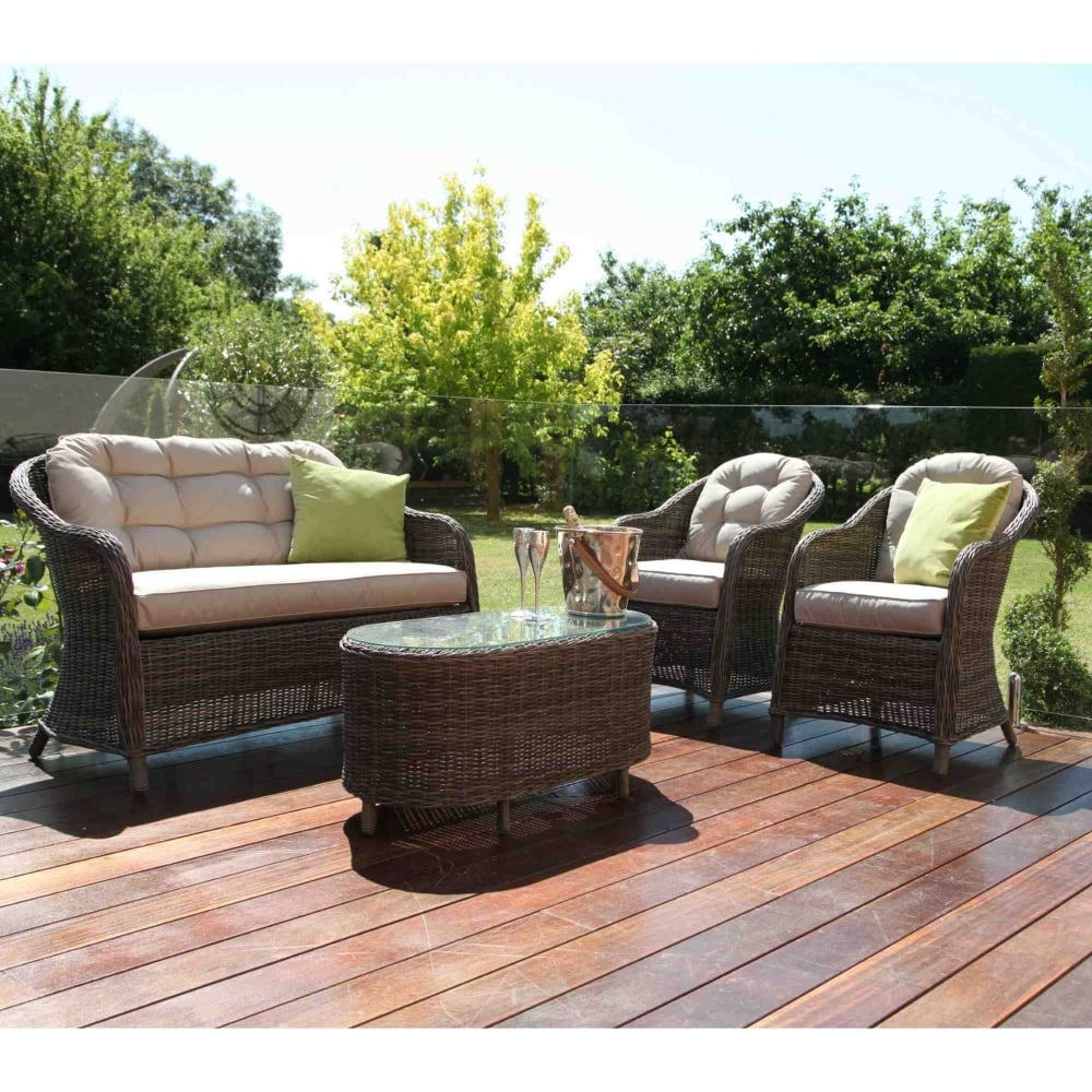 Maze Rattan Winchester Rounded High Back Sofa Set
