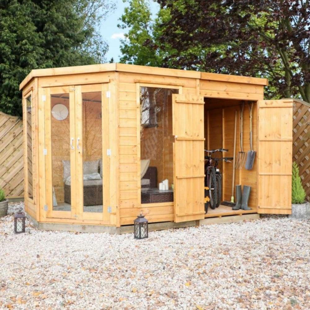 Mercia 11x7 Corner Summerhouse With Side Shed Garden Street