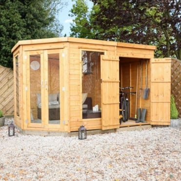 11x7 Corner Summerhouse with Side Shed