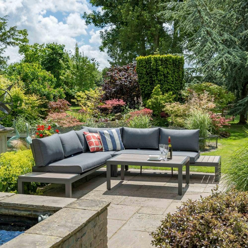 Leisuregrow Milan Aluminium Modular Corner Lounge Set Garden Street