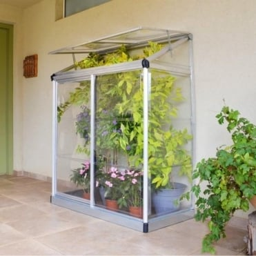 Silver Lean-To Greenhouse 4X2