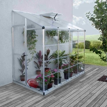 Silver Lean-To Greenhouse 8X4