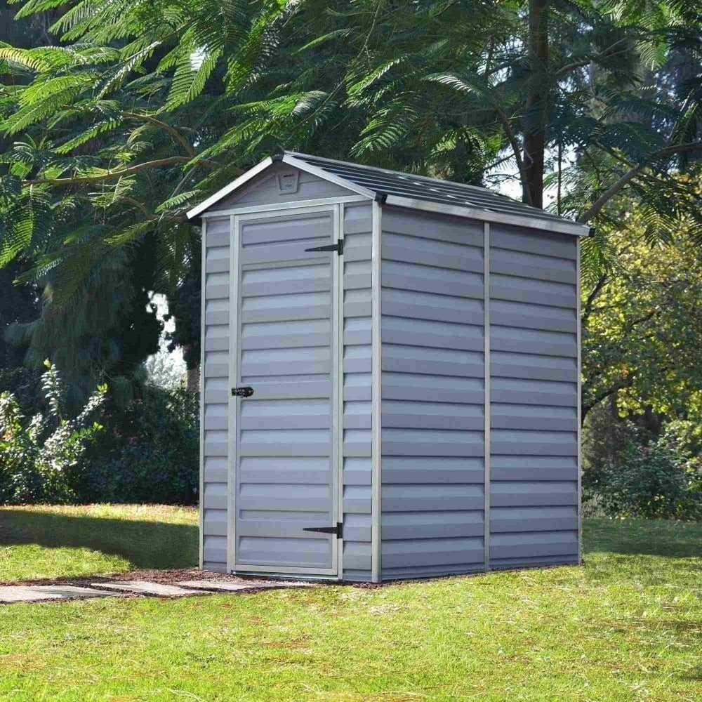 Palram skylight plastic anthracite apex shed 4x6 garden for Garden shed 4x6