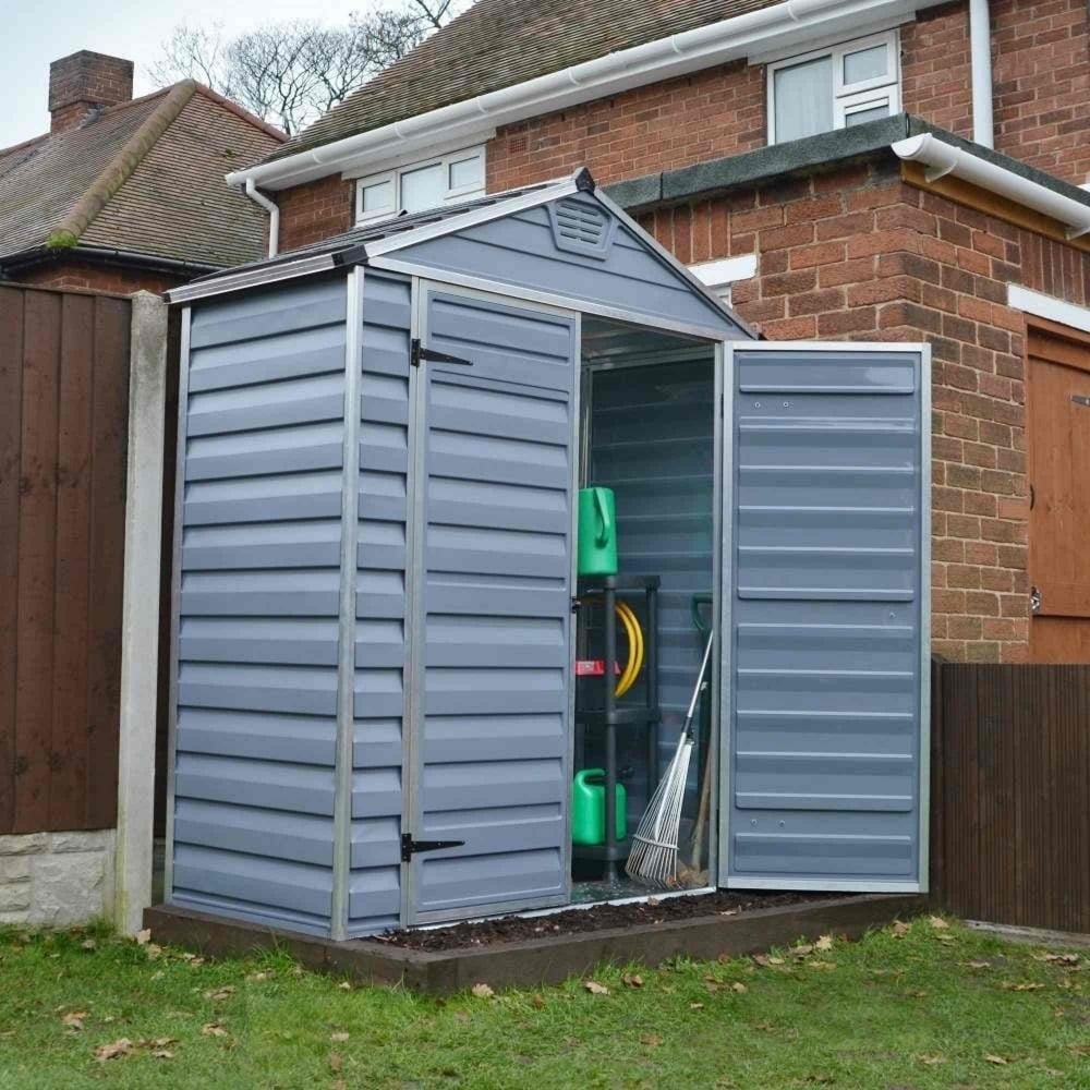 Palram skylight plastic anthracite apex shed 6x3 garden for Garden shed 6x3