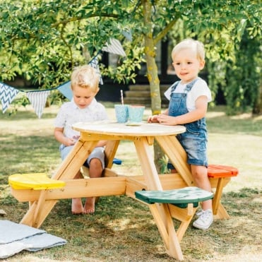Children's Picnic Table With Coloured Seats