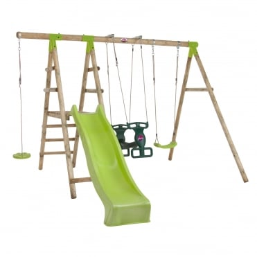 Muriqui Wooden Swing Set With Slide