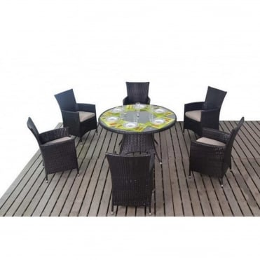 Luxe Round 6 Seater Dining Set