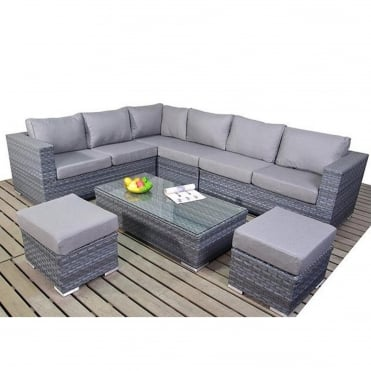Platinum Grey Large Corner Sofa Set