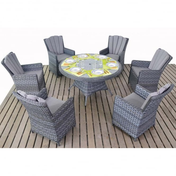 Port Royal Platinum Grey Round 6 Seater Dining Set