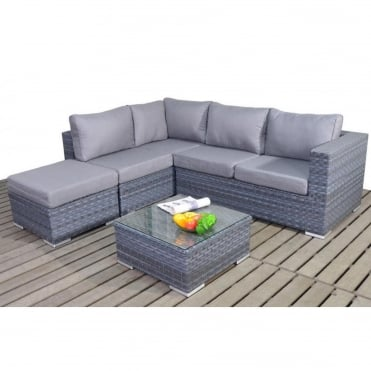 Platinum Grey Small Corner Sofa Set