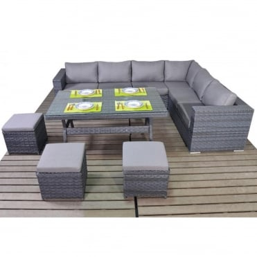 Platinum Grey Table Corner Dining Set