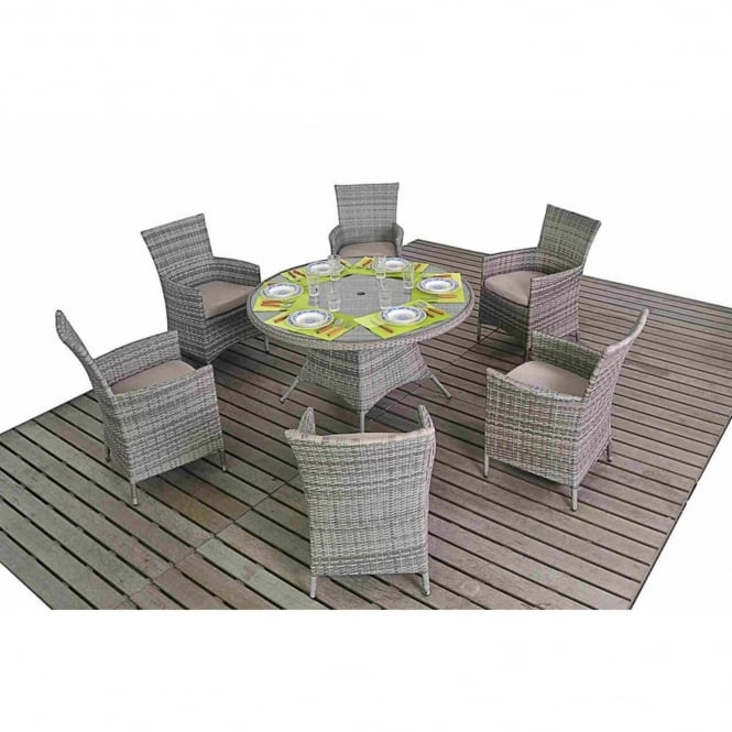 Port Royal Rustic Round 6 Seater Dining Set