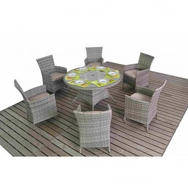 Rustic Round 6 Seater Dining Set