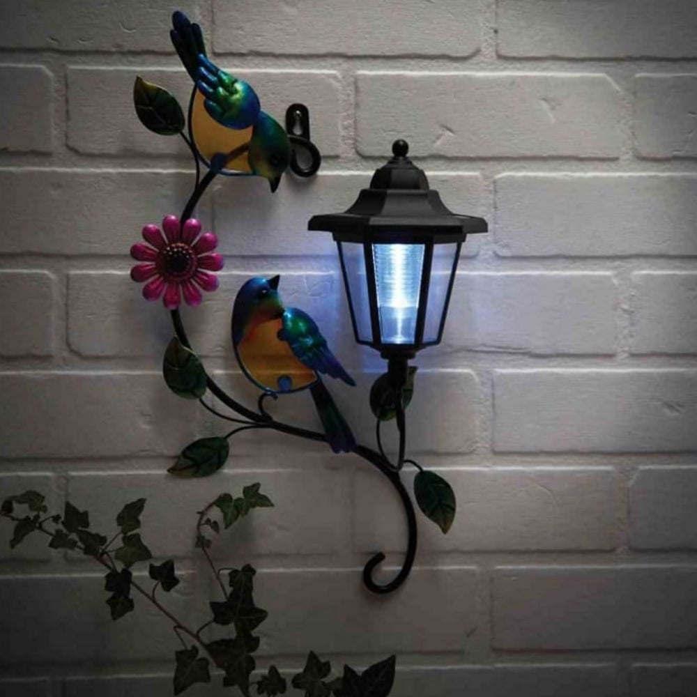 Powertek solar bird wall plaque garden street